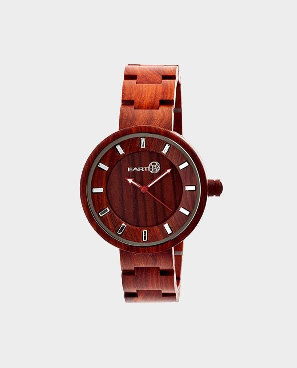 Drewniany Zegarek Korzeń – Czerwony – EARTH