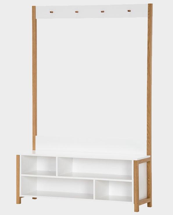 Garderoba / Ławka z Wieszakiem Northgate – biała / dąb – Woodman