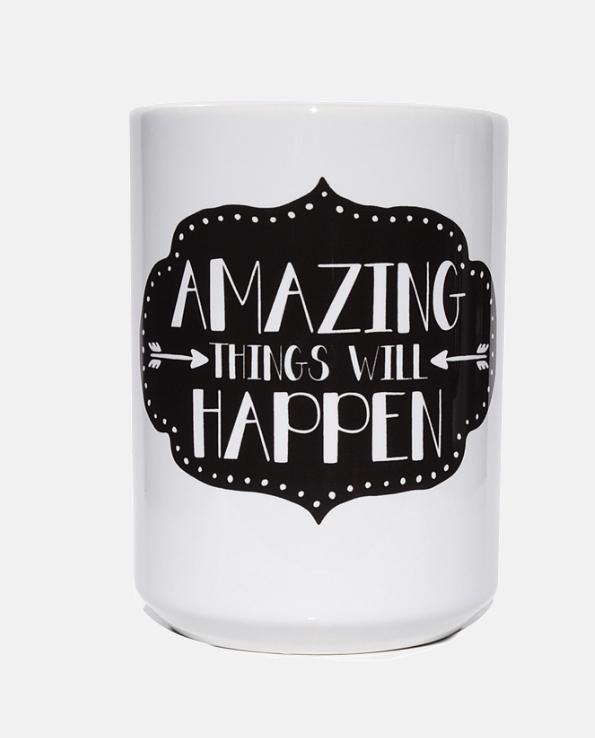 Kubek ceramiczny Amazing things will happen SLOSHE ...