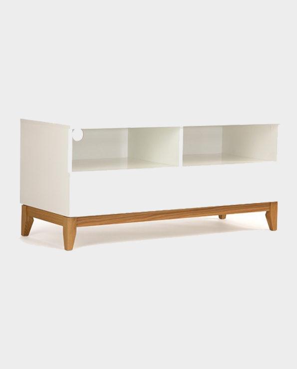 Szafka RTV Blanco – Biały/Naturalne drewno – Woodman