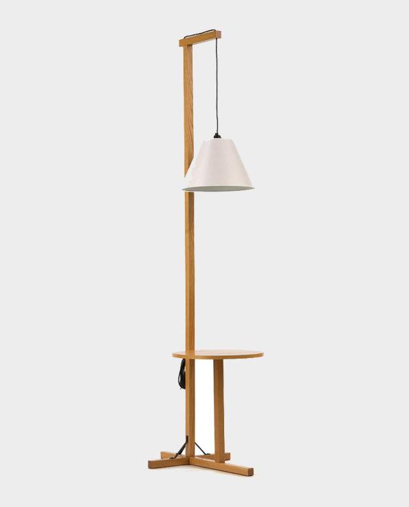 Lampa stojąca podłogowa z biureczkiem – Biały / Naturalne drewno – Woodman