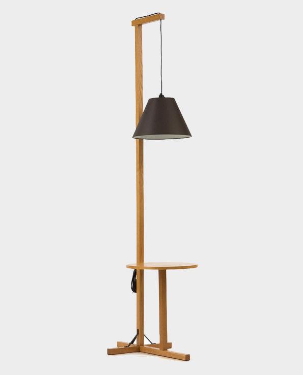 Lampa stojąca podłogowa z biureczkiem – Naturalne drewno / Czarny – Woodman