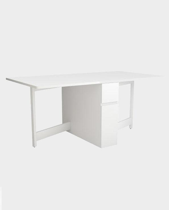 Wielofunkcyjny stół z opuszczanym blatem / biurko rozkładane Kungla – Biały – Woodman