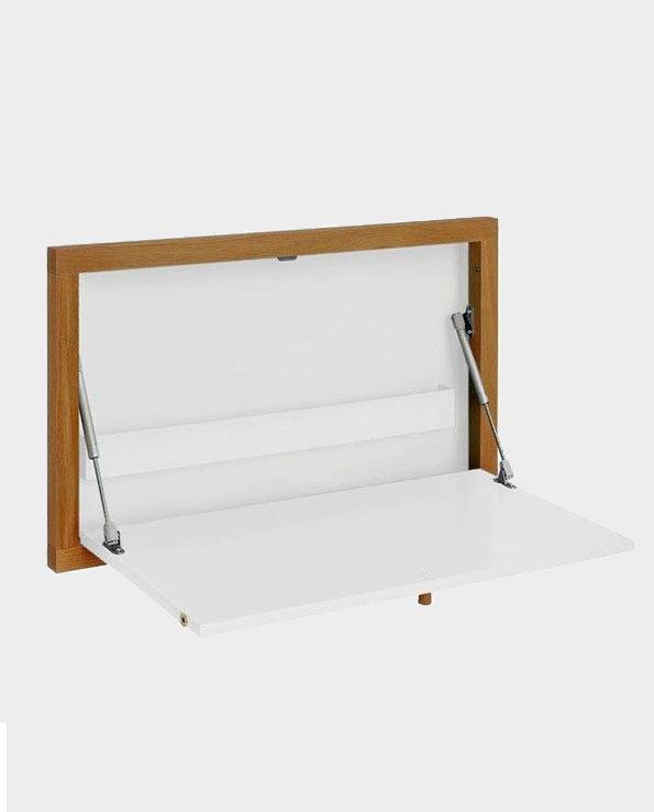 Nowoczesne biurko montowane do ściany / sekretarzyk Brenta – Białe – Woodman